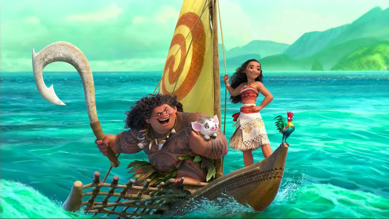 Moana enthusiastically sailing back home