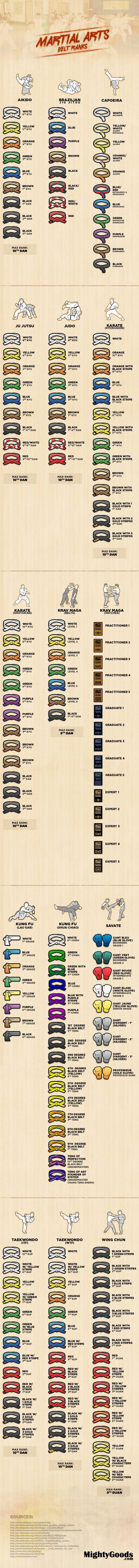 Martial arts belt ranks