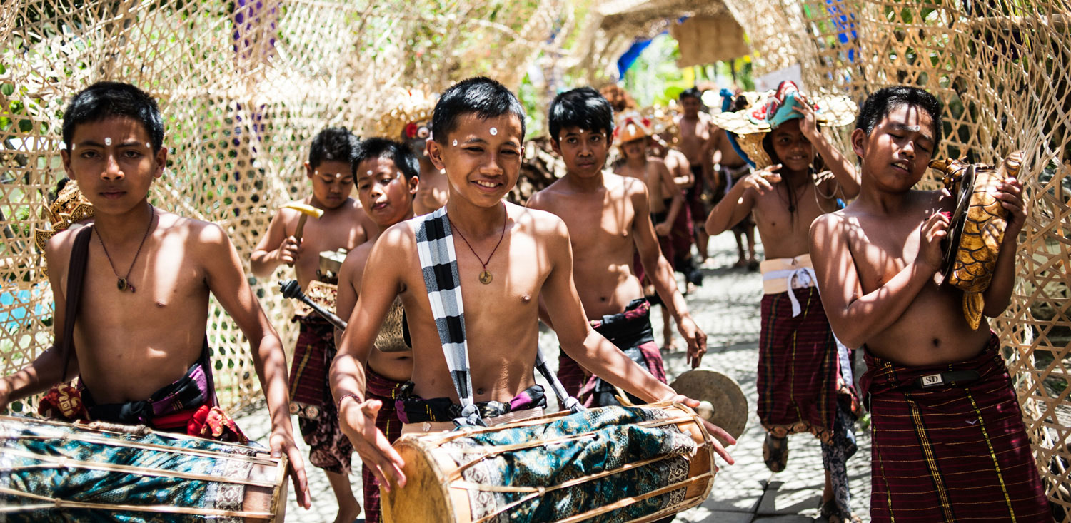 Balinese children playing music at Bali Spirit Festival