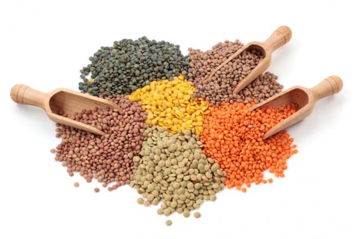 A selection of lentils