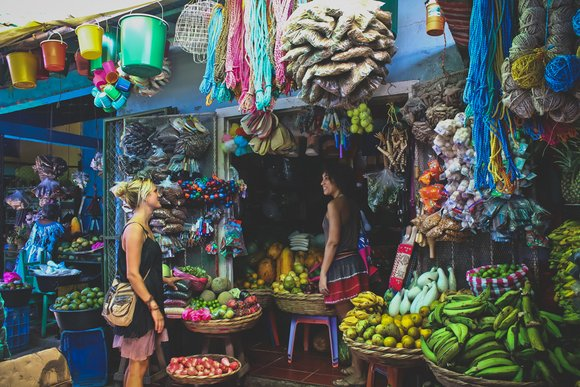visiting a colorful local market