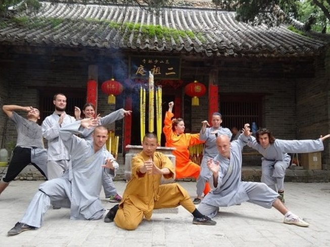 Martial artists having fun training at a Shaolin temple