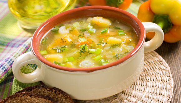 A bowl of hearty vegetable soup