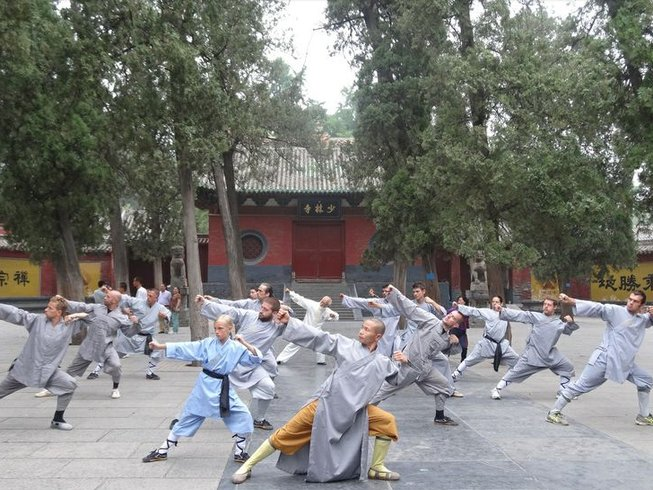 Practicing Kung Fu at a Shaolin temple