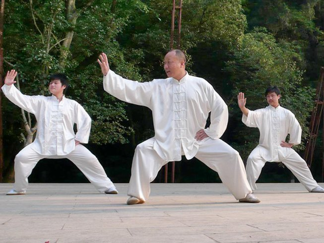 Tai Chi is often practiced outdoors