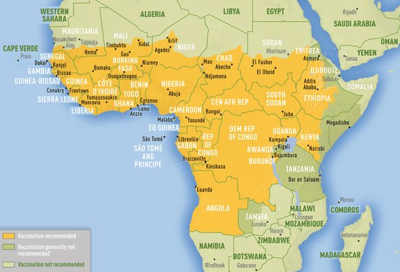 Yellow fever is endemic to Sub-Saharan Africa