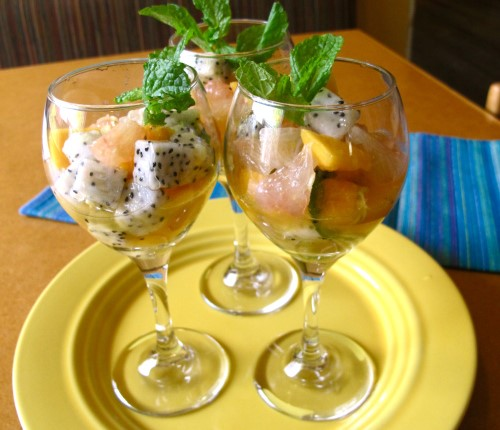 Thai dessert, Thai Mixed Fruit Salad with Dragon Fruit