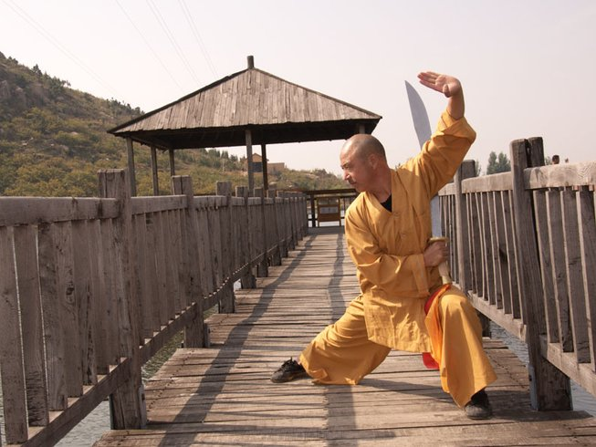 Shaolin monk practicing Kung Fu