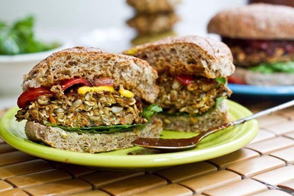 Veggie burgers make a filling and health lunch option