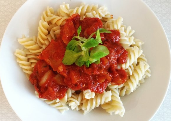 a plate of homemade pasta