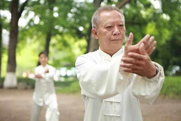 practicing tai chi