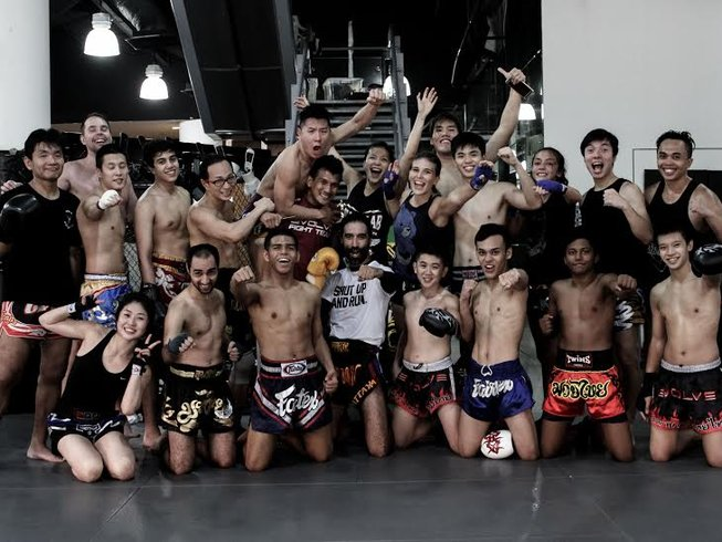 trainers and trainees at Evolve MMA