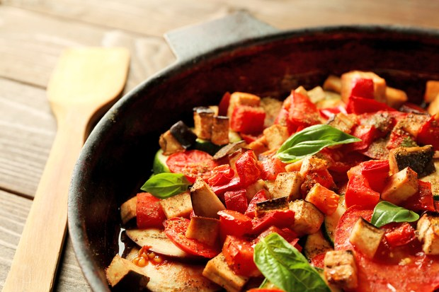 A pot of hearty ratatouille