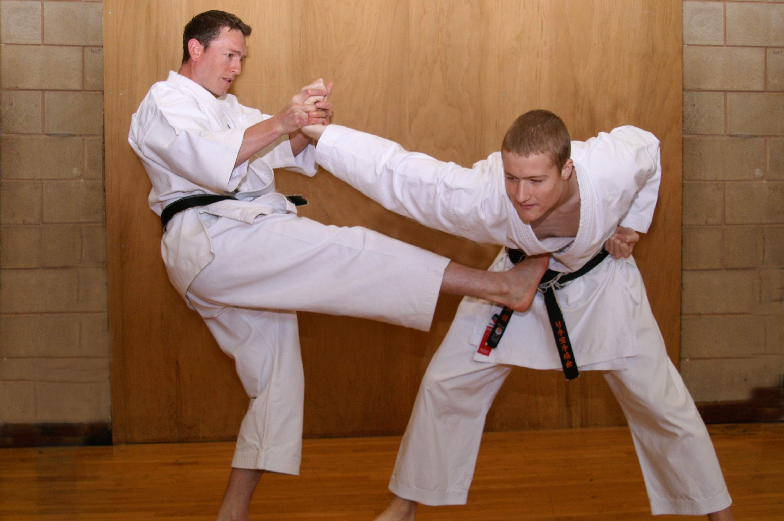 Karatekas practicing self-defense moves