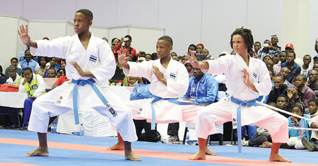 Youth competing in Taekwondo
